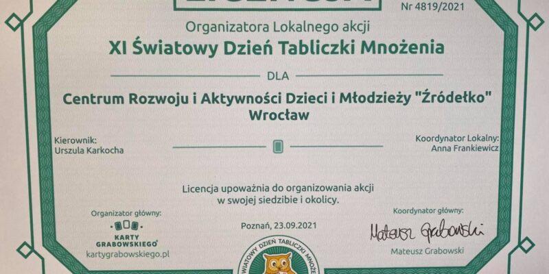 Licencja dla Źródełka z okazji 11 Światowego Dnia Tabliczki Mnożenia